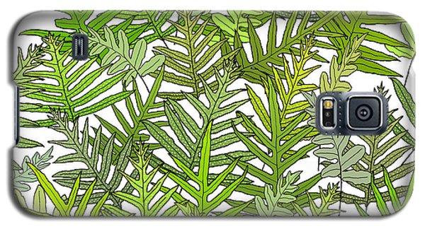 Green Fern Tangle On White Galaxy S5 Case