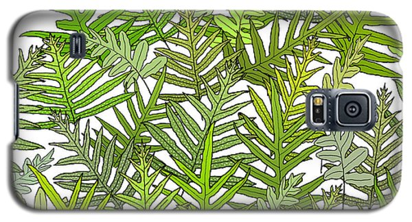 Green Fern Tangle On White Galaxy S5 Case