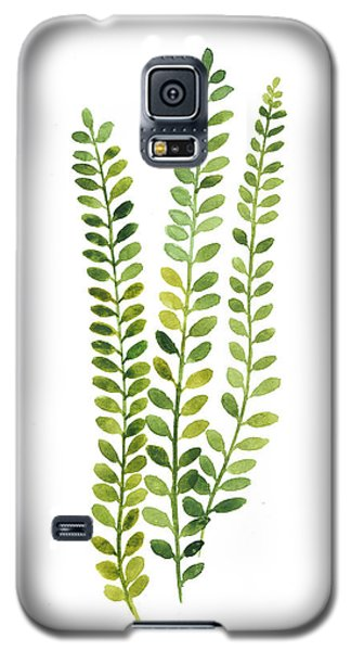 Green Fern Watercolor Minimalist Painting Galaxy S5 Case by Joanna Szmerdt