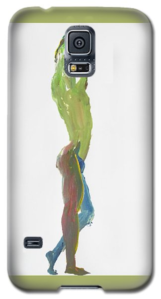 Galaxy S5 Case featuring the painting Green Gesture 1 Profile by Shungaboy X