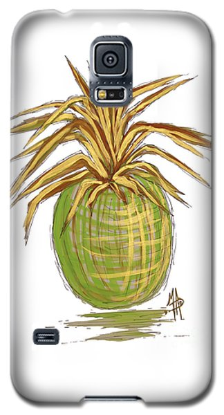 Green Gold Pineapple Painting Illustration Aroon Melane 2015 Collection By Madart Galaxy S5 Case by Megan Duncanson