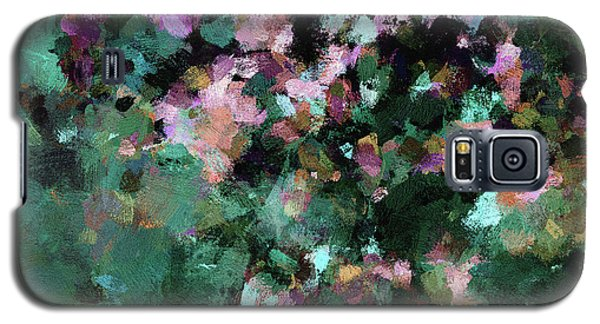 Galaxy S5 Case featuring the painting Green Landscape Painting In Minimalist And Abstract Style by Ayse Deniz