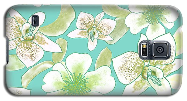 Green Spotted Orchids On Turquoise Galaxy S5 Case