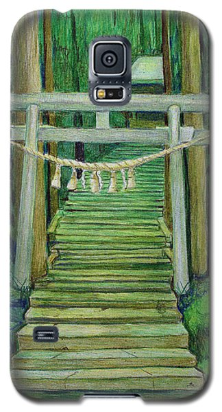 Galaxy S5 Case featuring the drawing Green Stairway by Tim Ernst
