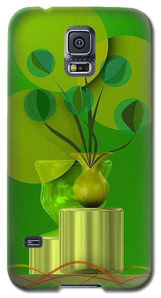 Green Still Life With Abstract Flowers, Galaxy S5 Case