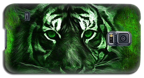 Galaxy S5 Case featuring the painting Green Tiger by Michael Cleere
