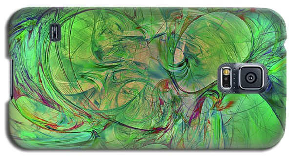 Galaxy S5 Case featuring the digital art Green World Abstract by Deborah Benoit