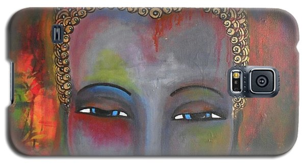 Galaxy S5 Case featuring the painting Grey Buddha In A Circular Background by Prerna Poojara