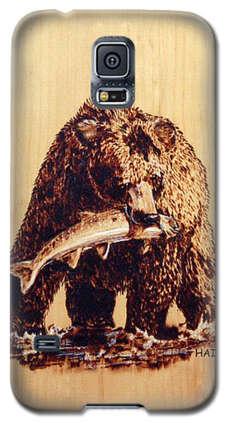 Galaxy S5 Case featuring the pyrography Grizzly by Ron Haist