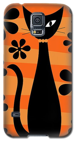Groovy Flowers With Cat Orange And Light Orange Galaxy S5 Case