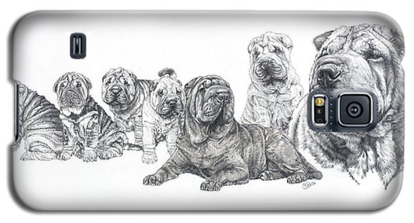 Galaxy S5 Case featuring the drawing Growing Up Chinese Shar-pei by Barbara Keith