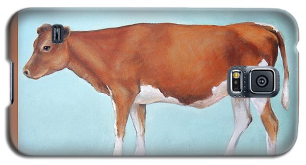 Cow Galaxy S5 Case - Guernsey Cow Standing Light Teal Background by Dottie Dracos