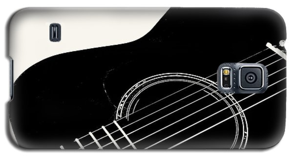 Galaxy S5 Case featuring the digital art Guitar, Black And White,  by Jana Russon