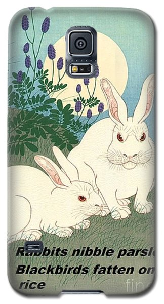 Galaxy S5 Case featuring the painting Haiku  Rabbits Nibble Parsley by Pg Reproductions