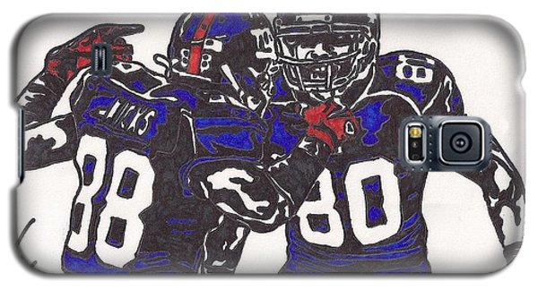 Galaxy S5 Case featuring the drawing Hakeem Nicks And Victor Cruz by Jeremiah Colley