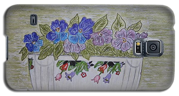 Galaxy S5 Case featuring the painting Hall China Crocus Bowl With Violets by Kathy Marrs Chandler