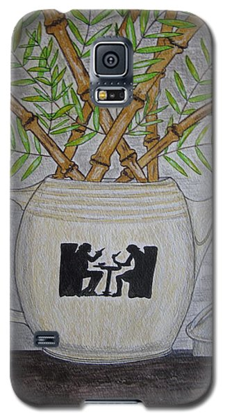 Galaxy S5 Case featuring the painting Hall China Silhouette Pitcher With Bamboo by Kathy Marrs Chandler