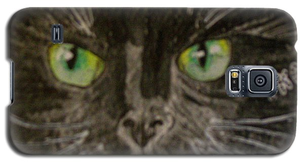 Galaxy S5 Case featuring the painting Halloween Black Cat I by Kathy Marrs Chandler