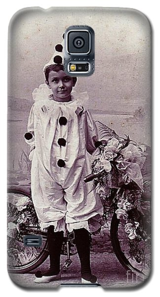 Halloween Pierrot Boy With Antique Bicycle Circa 1890 Galaxy S5 Case by Peter Gumaer Ogden