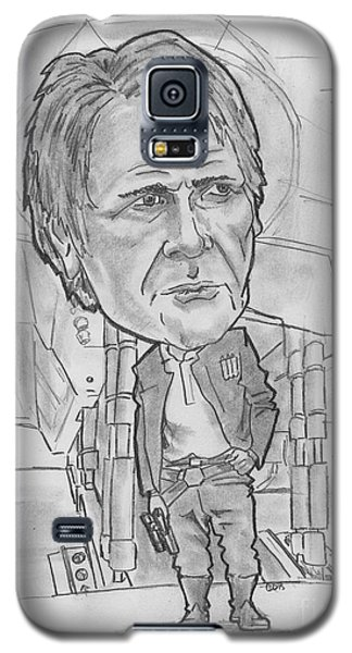 Galaxy S5 Case featuring the drawing Han Solothe Force Awakens by Chris DelVecchio