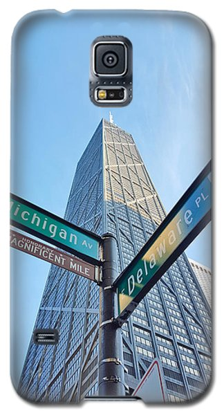 Hancock Building With Street Signs Galaxy S5 Case by Matthew Bamberg