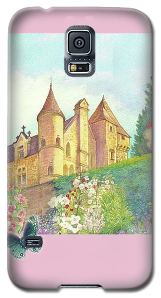 Galaxy S5 Case featuring the painting Handpainted Romantic Chateau Summer Garden by Judith Cheng