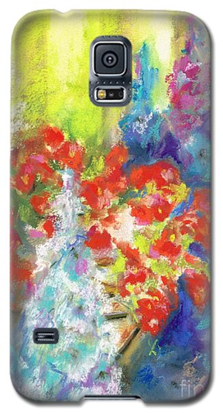 Galaxy S5 Case featuring the painting Hanging With The Delphiniums  by Frances Marino