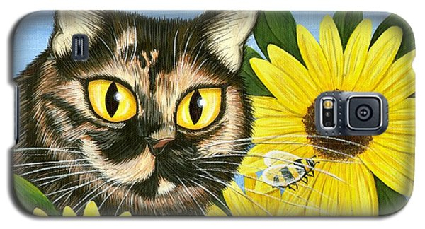 Galaxy S5 Case featuring the painting Hannah Tortoiseshell Cat Sunflowers by Carrie Hawks