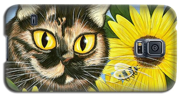 Hannah Tortoiseshell Cat Sunflowers Galaxy S5 Case by Carrie Hawks