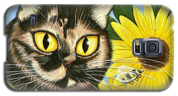 Hannah Tortoiseshell Cat Sunflowers Galaxy S5 Case