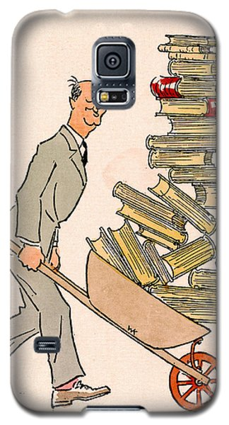 Galaxy S5 Case featuring the drawing Happy Bibliophile 1930 by Padre Art