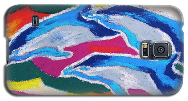 Galaxy S5 Case featuring the painting Happy Dolphin Dance by Stephen Anderson