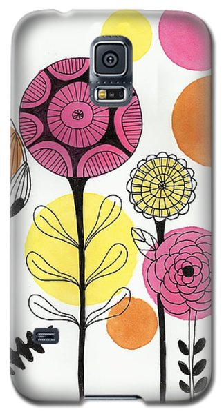 Galaxy S5 Case featuring the mixed media Happy Flowers by Lisa Noneman