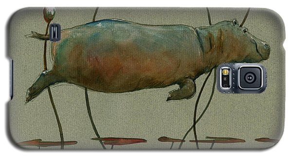 Happy Hippo Swimming Galaxy S5 Case by Juan  Bosco