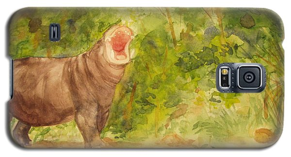 Galaxy S5 Case featuring the painting Happy Hippo by Vicki  Housel