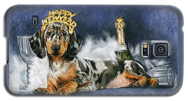 Galaxy S5 Case featuring the mixed media Happy New Year by Barbara Keith