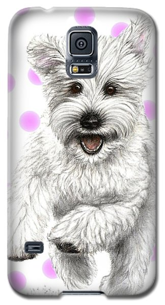 Galaxy S5 Case featuring the drawing Happy Pink Polka Dots Doggy  by Heidi Kriel