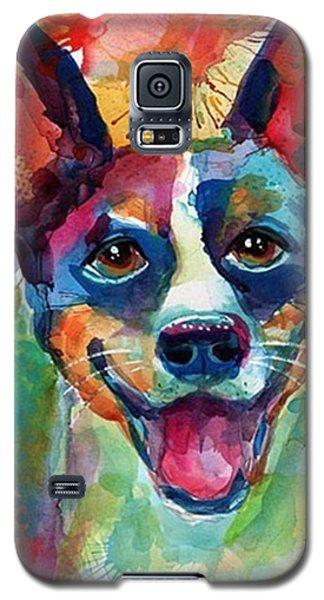 Animal Galaxy S5 Case - Happy Rat Terrier Watercolor Portrait by Svetlana Novikova