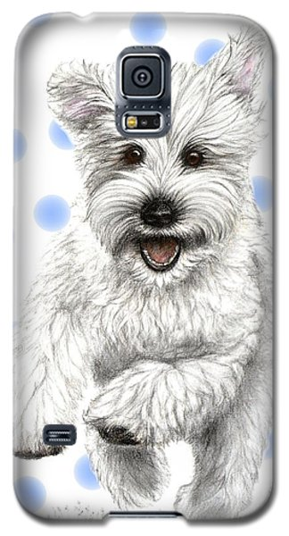 Galaxy S5 Case featuring the drawing Happy Blue Polka Dots Doggy by Heidi Kriel