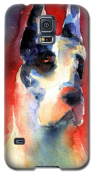 Harlequin Great Dane Watercolor Painting Galaxy S5 Case