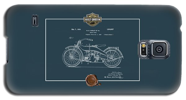 Galaxy S5 Case featuring the digital art Harley-davidson 1924 Vintage Patent Blueprint  by Serge Averbukh