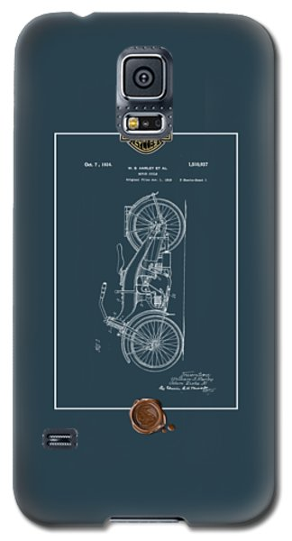 Galaxy S5 Case featuring the digital art Harley-davidson 1924 Vintage Patent Blueprint With 3d Badge by Serge Averbukh