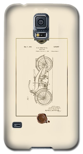 Galaxy S5 Case featuring the digital art Harley-davidson 1924 Vintage Patent Document With 3d Badge by Serge Averbukh