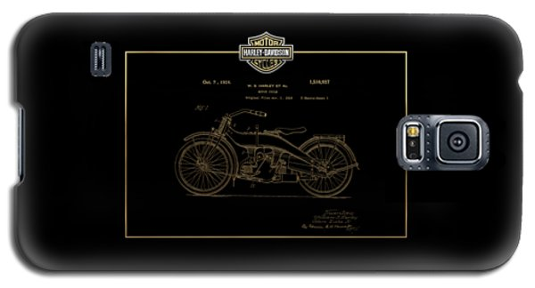 Galaxy S5 Case featuring the digital art Harley-davidson 1924 Vintage Patent In Gold On Black by Serge Averbukh