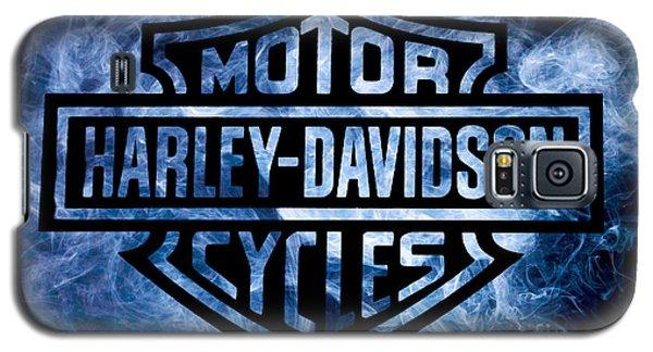 Harley Davidson Logo Blue Galaxy S5 Case by Randy Steele