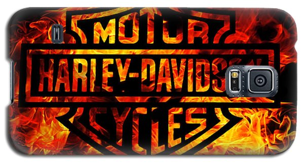Motorcycle Galaxy S5 Case - Harley Davidson Logo Flames by Randy Steele