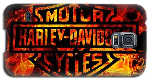 Harley Davidson Logo Flames Galaxy S5 Case by Randy Steele