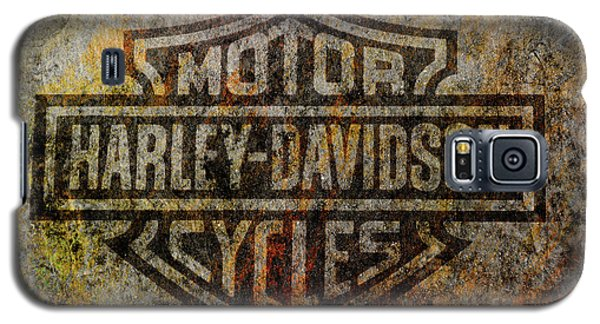 Harley Davidson Logo Grunge Metal Galaxy S5 Case by Randy Steele