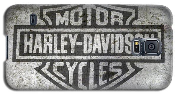 Motorcycle Galaxy S5 Case - Harley Davidson Logo On Metal by Randy Steele
