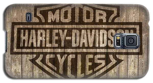 Harley Davidson Logo On Wood Galaxy S5 Case by Randy Steele